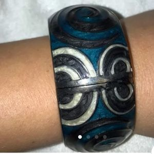 Blue and silver bangle